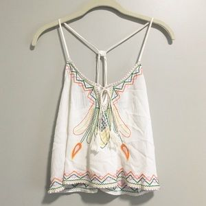 Mustard Seed White Embroidered Tassel Top